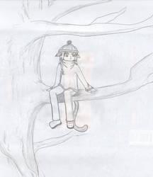 Kitty Ed in a tree by Mastuyama