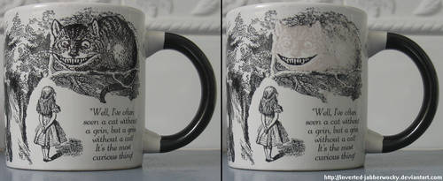 Disappearing Cheshire Cat mug by Inverted-Jabberwocky