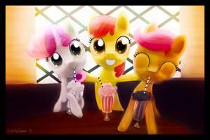 Cutie Mark Crusaders Soda Drinkers! by porkchopsammie
