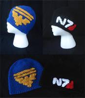 Mass Effect Garrus Vakarian Eagle and N7 Beanie by RebelATS