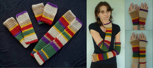 4th Doctor's Scarf Inspired Hand and Arm Warmers by RebelATS
