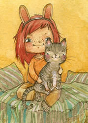 ACEO - The Cat by Adelaida