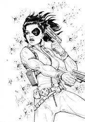 X-Men's Domino - Lineart by Szigeti