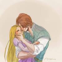 Tangled Rapunzel and Eugene by amarim