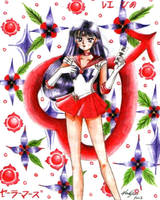 Sailor Mars With Ofuda Scroll by aleena