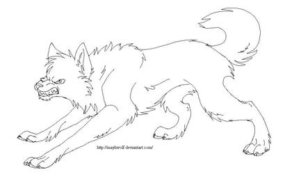 Lineart angry wolf by MayhWolf