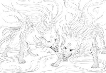Hati and Skoll by MayhWolf