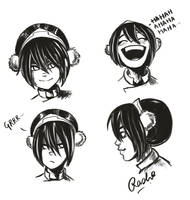 Toph Sketches by fuzzypinkmonster