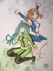 Uraraka and Tsuyu by Dawnie-chan