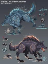 Skoll and Hati The Celestial Devourers by Wolfdog-ArtCorner