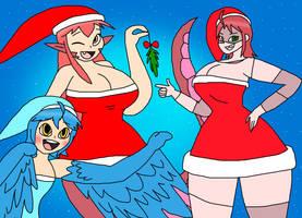 Festive Monster Girls by PortalMasterDan64