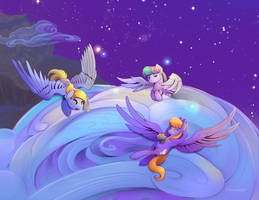 Blossomforth, Derpy and Cloudkicker close up by viwrastupr