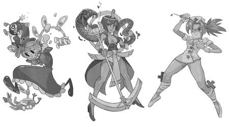Skullgirls grayscale by Crew1
