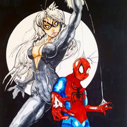 Black Cat and Spiderman Colored by ravenclawtom