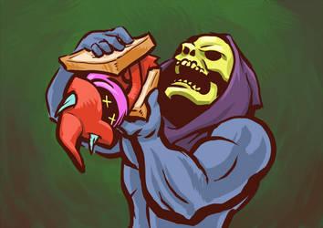 Skeletor Eats a Sandwich by Nekobakagaijin