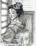 InkTober Day 29 - GEISHA IN SUNSET by NikySHouse