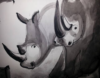 Rhinos by beckymew