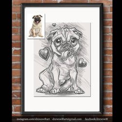 pug drawing by partical0