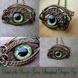 Color Shift - Bronze Green Steampunk Dragon Eye by LadyPirotessa