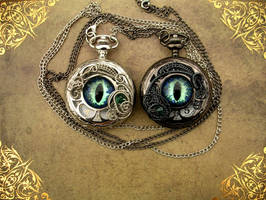 CUSTOM His and Her's Dragon Eye Watches 2 by LadyPirotessa
