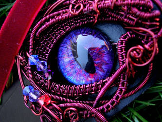 Gothic Collar - Blood Violet Eye - Close Up by LadyPirotessa