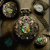 Steampunk Pocket Watch - Rainbow Aqua Green by LadyPirotessa