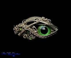 Green Dragon Eye - Silver Leaf Victorian Barrette by LadyPirotessa