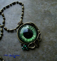 Autumn Harvest - Green Dragon Eye Pendant by LadyPirotessa
