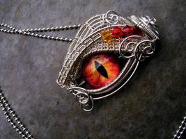 Sterling Silver - Fire Dragon Eye Pendant LOTR by LadyPirotessa
