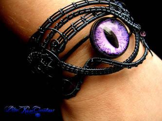 Violet Purple Dragon Eye Bracelet Smoke Wire by LadyPirotessa