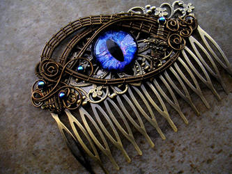 Blue Dragon Bronze hair comb stick fork by LadyPirotessa