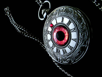 Shadow Swirl Pocket Watch - Red Gold Eye by LadyPirotessa