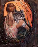 Girl and the wolf by j-vidanova