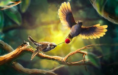 Birds fighting by j-vidanova