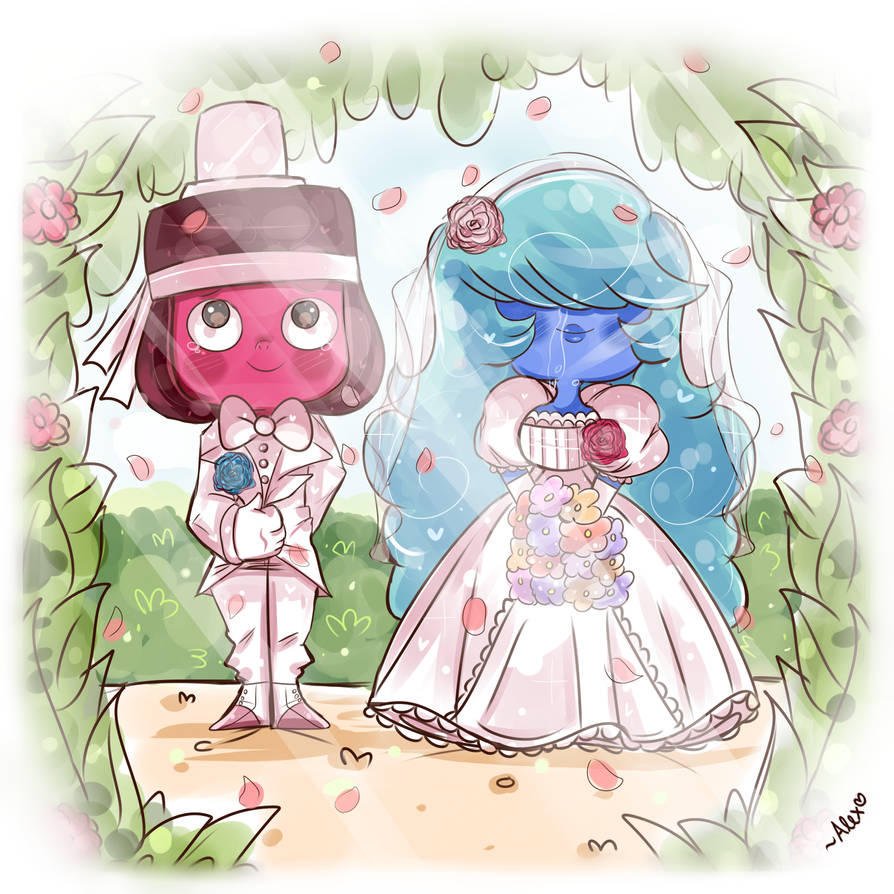 "so I drew this BEFORE ""Reunited"" so I apologize Ruby and Sapphire aren't in their accurate wedding attire >< I was too busy thinking of a peaceful pastel ..."