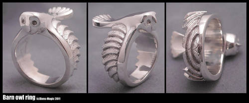 Barn owl ring by EagleWingGallery