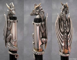 Sterling silver - 14k gold - Dragon 'Pen Topper' by EagleWingGallery
