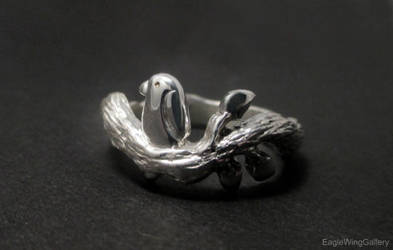 Tiny Bird on a Branch Ring by EagleWingGallery