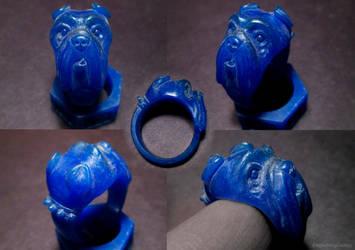 Bulldog wax ring carving by EagleWingGallery