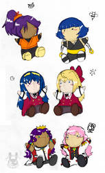 Yuri Character Plushies by Inkblot-Rabbit