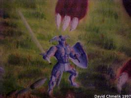 Dragon Fight: Arthur Conan of Logres closeup by dchmelik