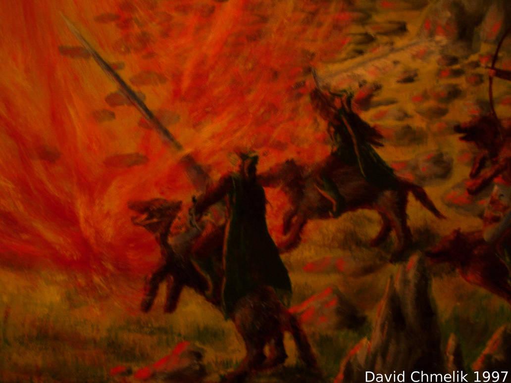 Dragon Fight: elves closeup 2 by dchmelik