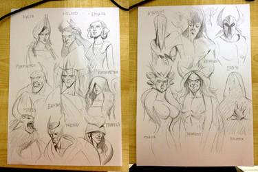 Theros Gods Sketch by Noxypia