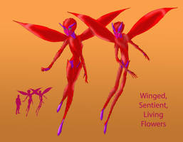 Winged, Sentient, Living Flowers by Spearhafoc