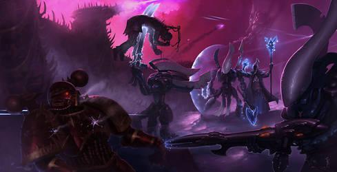 Eldar vs Chaos by ZacART