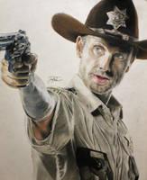 Rick Grimes Colored Portrait by JoaoMoita182