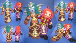 WoW plushies- Mage and Druid by Threnodi