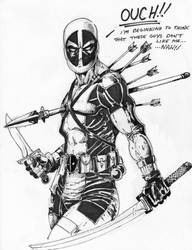 Inktober Oct 29th - Deadpool Ouch by PM-Graphix