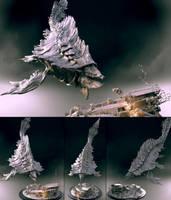 Alien Whale - clay render by zerojs