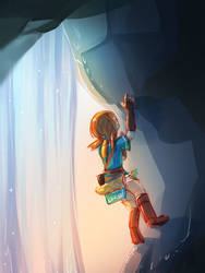 botw -- Climbing Behind the Waterfall by onisuu